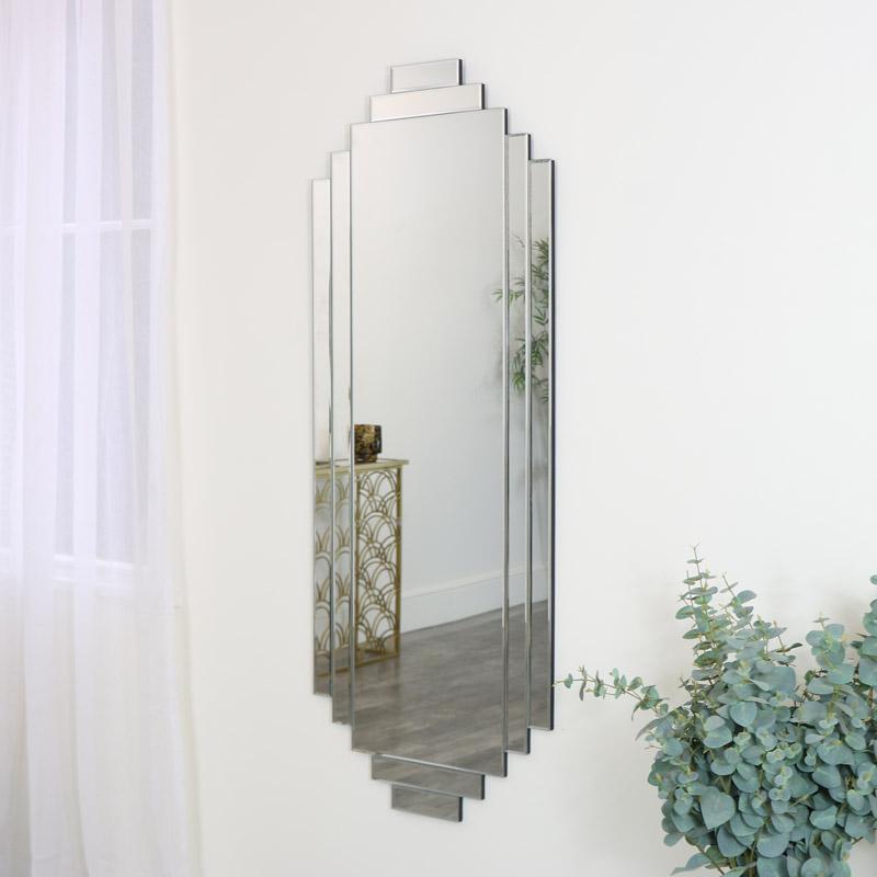 Large Art Deco Wall Mirror 56cm x 142cm