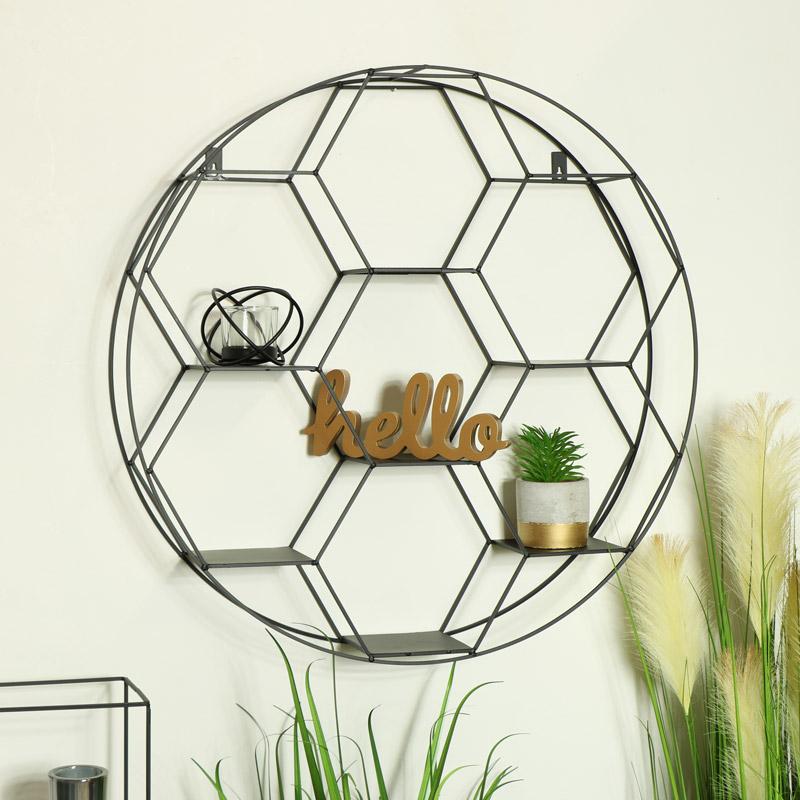 Large Black Hexagon Metal Wall Shelf