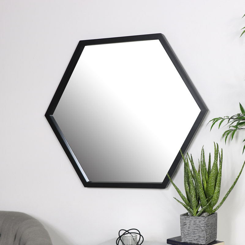 Large Black Hexagon Mirror