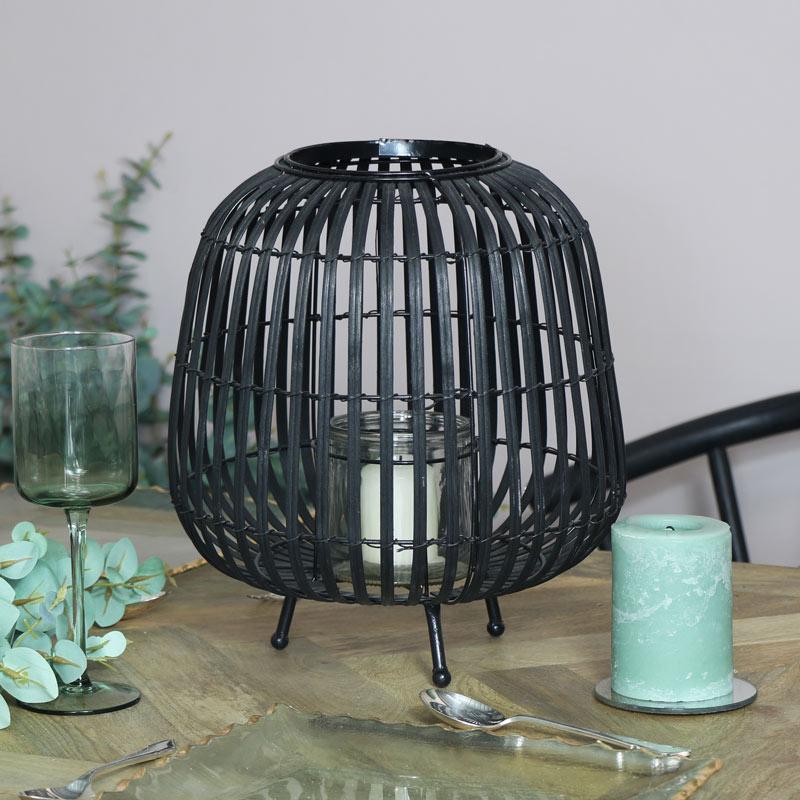 Large Black Rattan Lantern