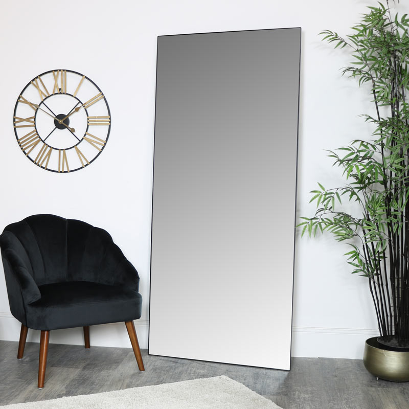 Large Black Thin Framed Leaner Mirror 80cm x 180cm