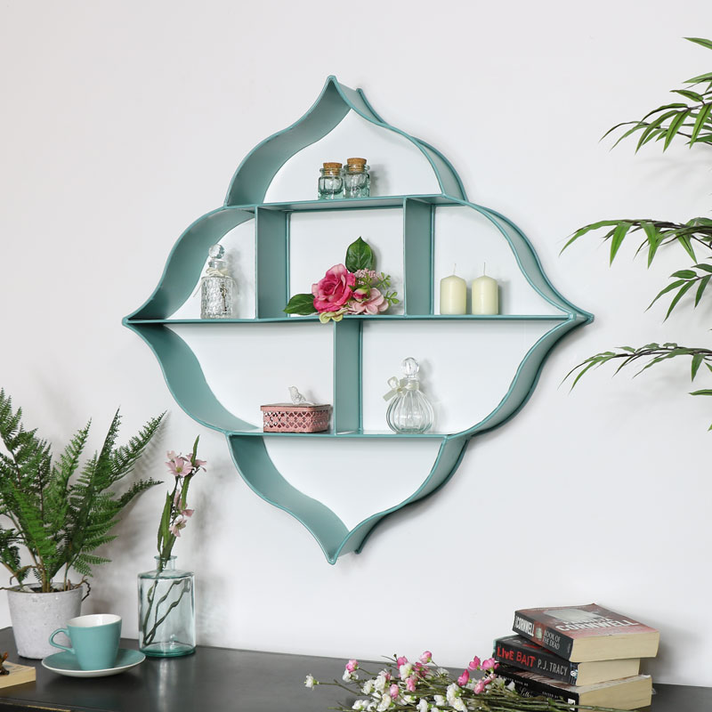 Large Blue Multi Shelf Wall Unit