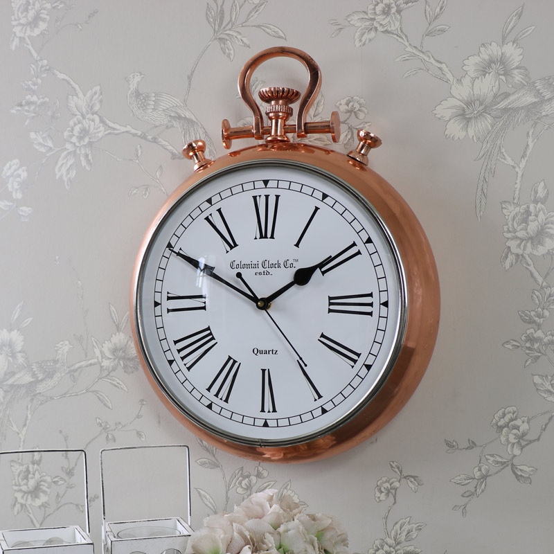 large copper fob stop watch style wall clock melody maison. Black Bedroom Furniture Sets. Home Design Ideas