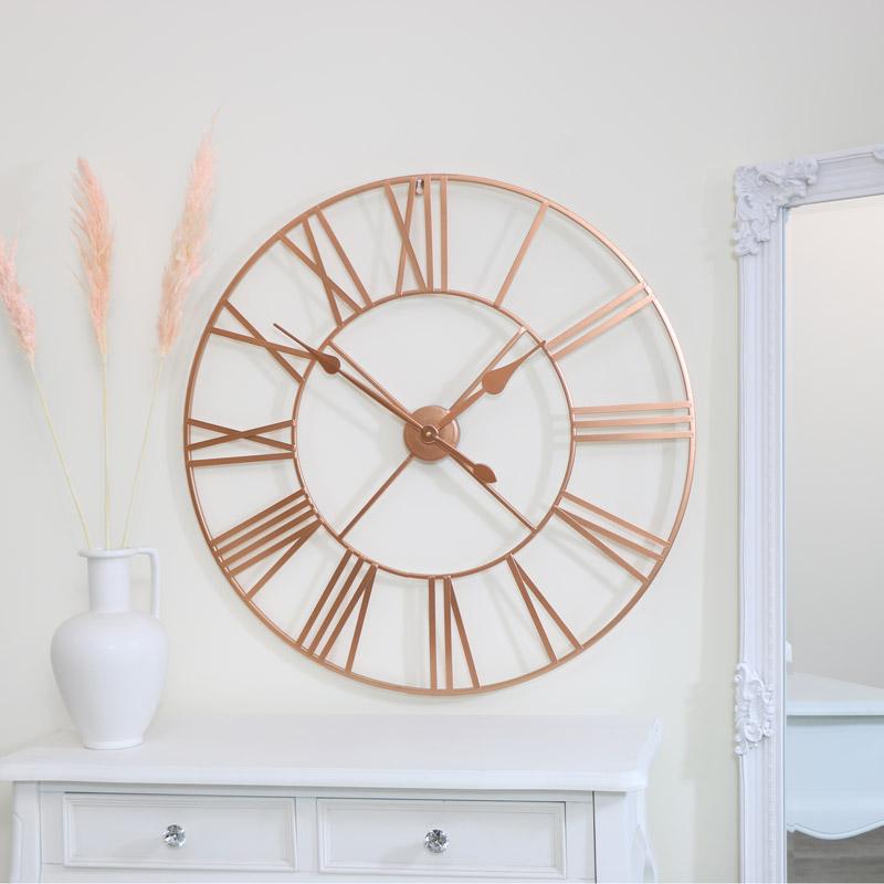 Large Copper Metal Skeleton Clock 80cm x 80cm