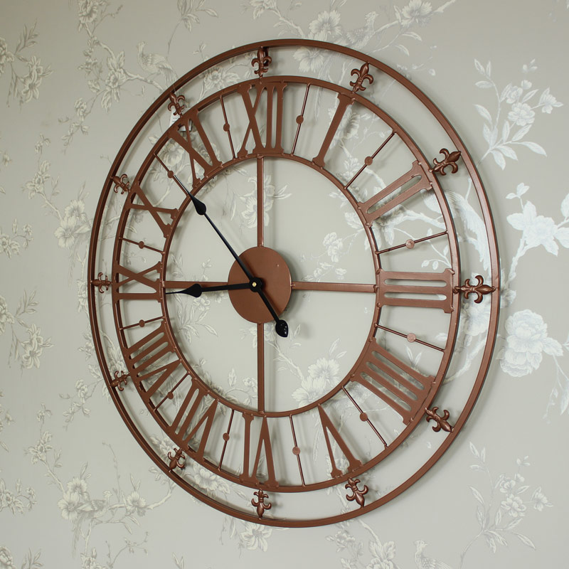 Large Copper Painted Skeleton Wall Clock Shabby Vintage