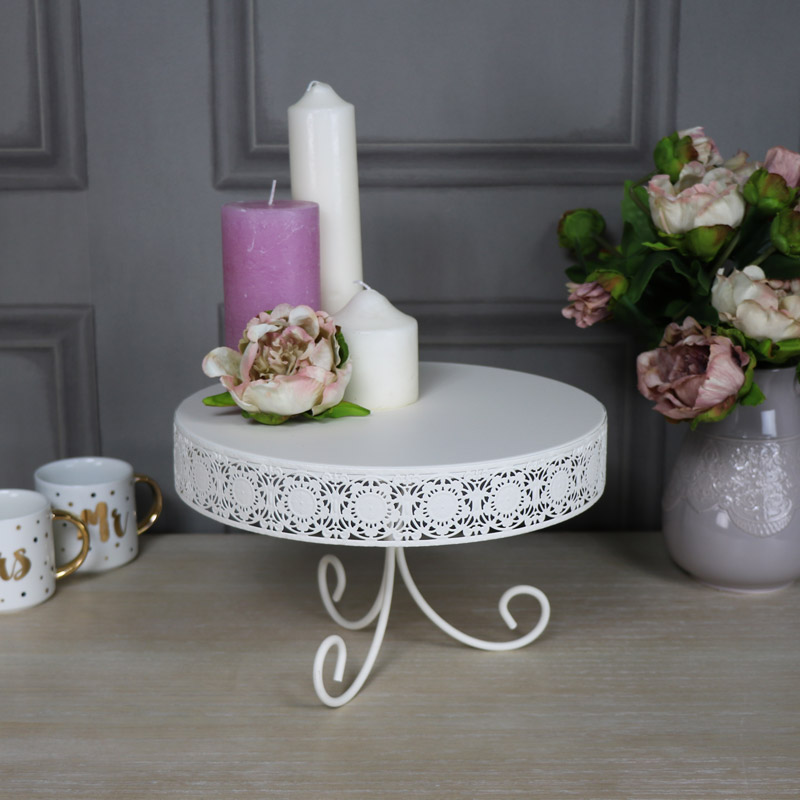 Large Cream Metal Cake Stand