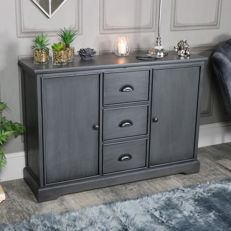 Large Dark Grey 3 Drawer 2 Door Sideboard - Lancaster Range