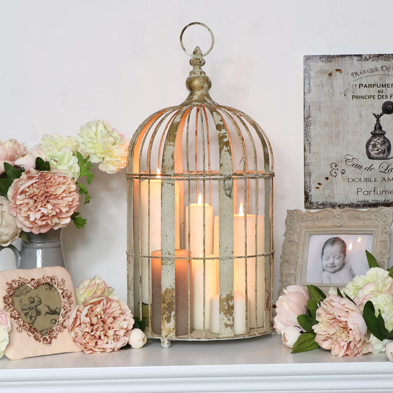 Large Distressed Birdcage Lantern