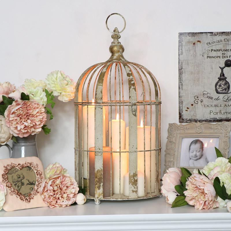 Large Distressed Birdcage Lantern