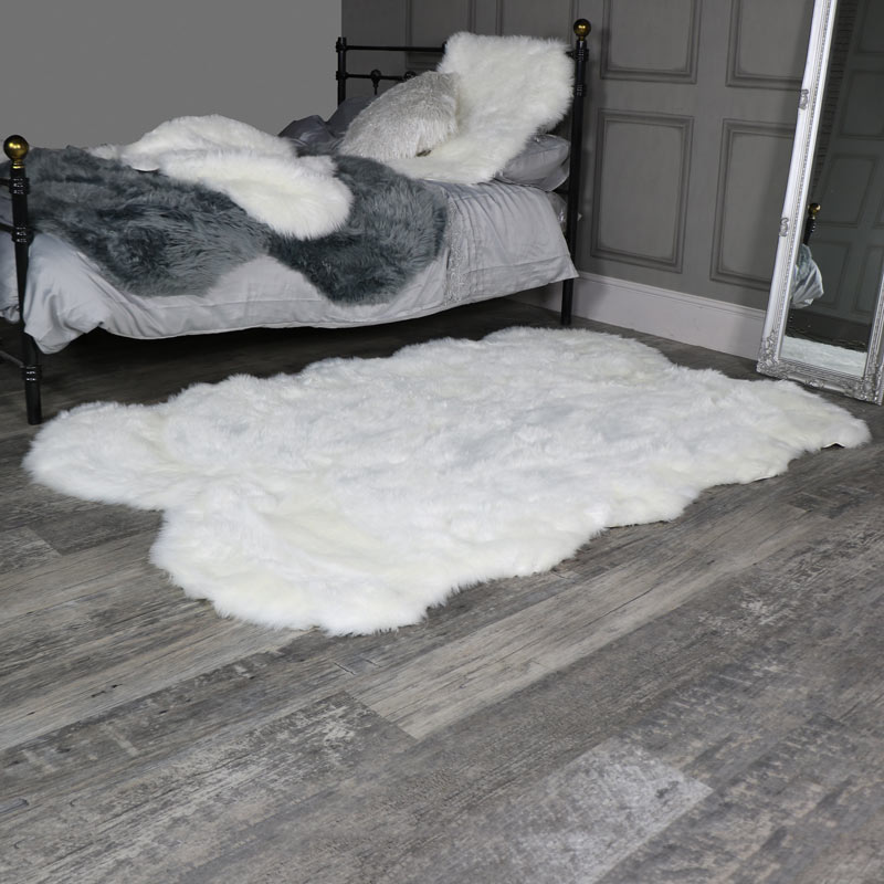 Large Four Pelt White Faux Fur Rug 130cm X 200cm