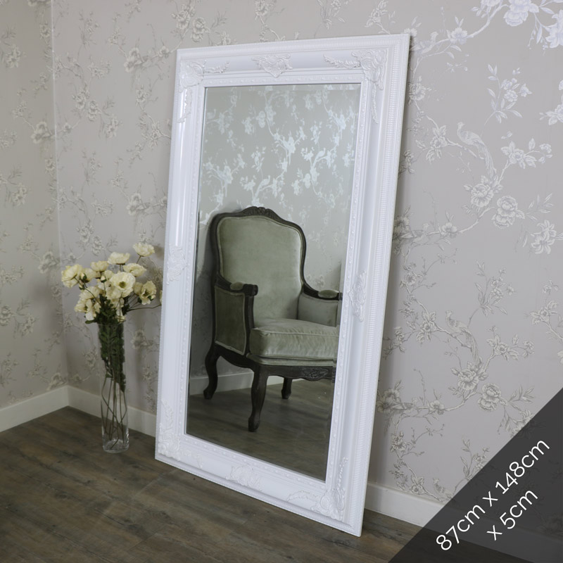 Extra large ornate gloss white wall mounted bevelled for Big white wall mirror