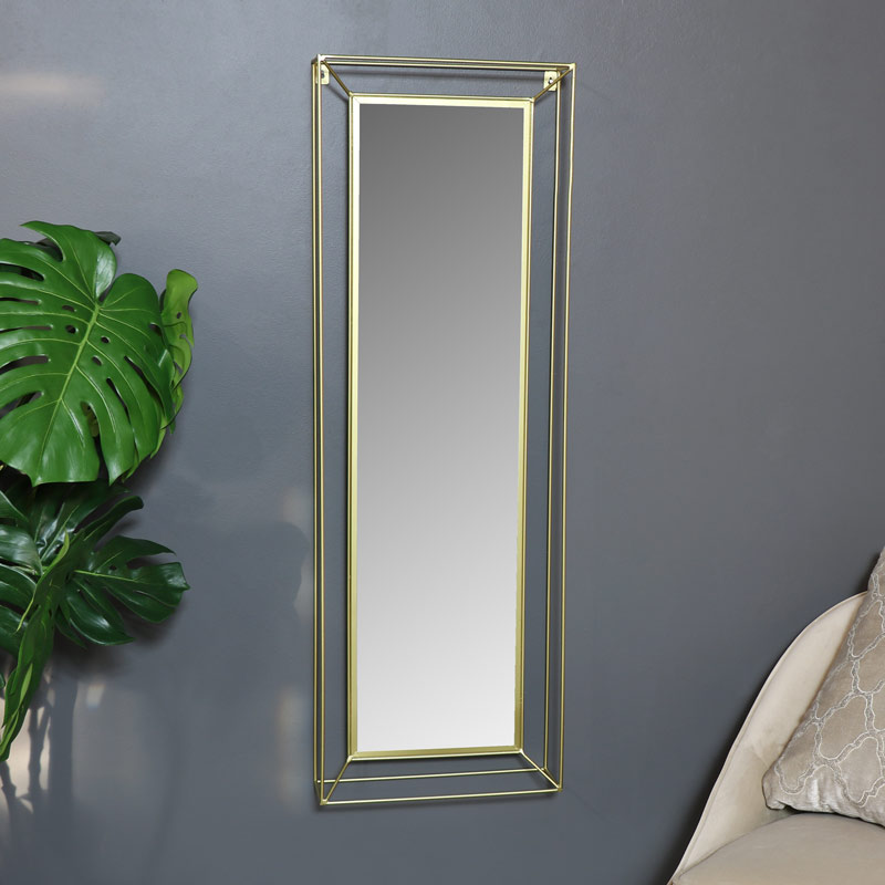 Slim Gold Wire Metal Wall Mirror 38cm x 114cm
