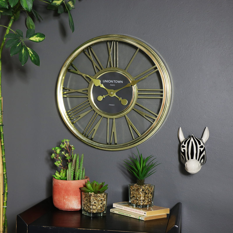 Large Gold Wall Clock