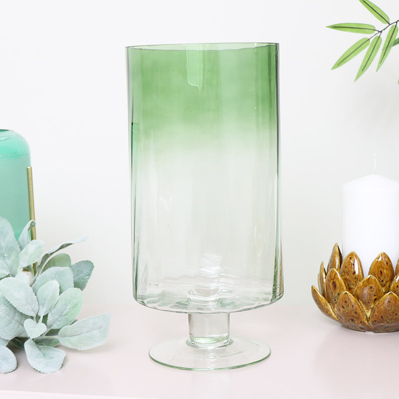 Large Green Ombre Glass Hurricane Vase