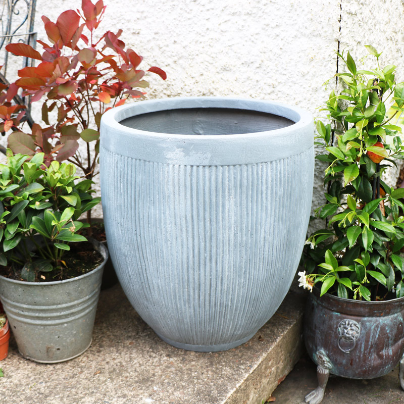 Large Grey Dolly Tub Planter
