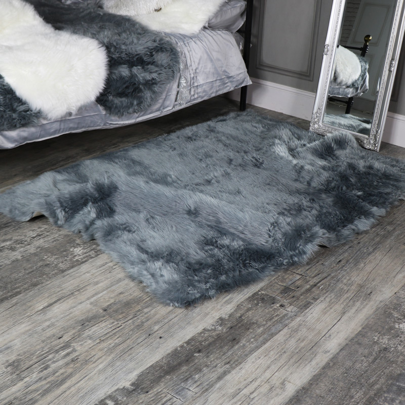 Large Grey Faux Fur Shaggy Rug 120cm X170cm