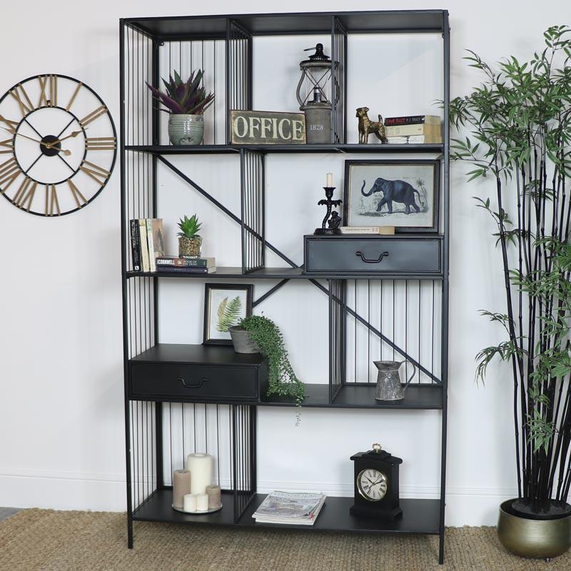 Large Grey Industrial Display Cabinet