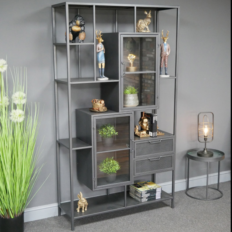 Large Grey Industrial Shelving Unit / Display Cabinet