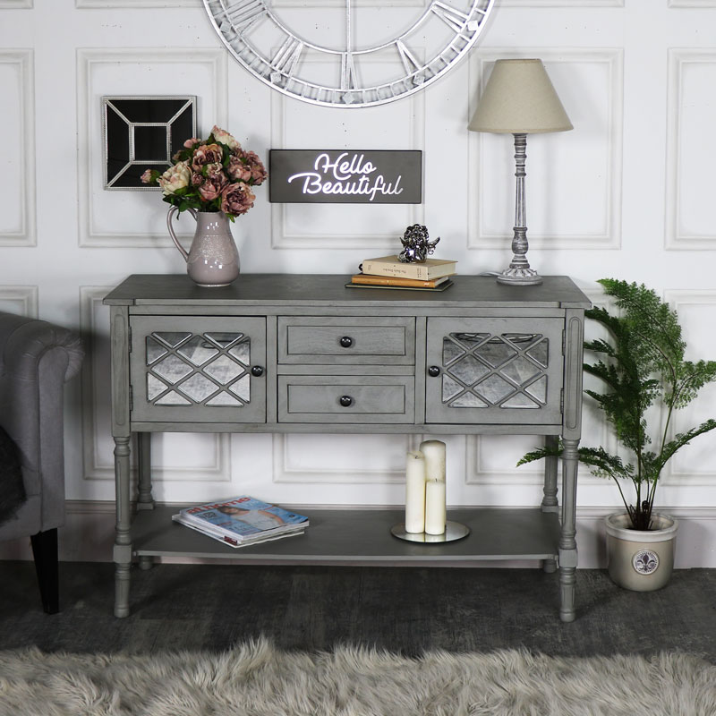Large Grey Mirrored Sideboard Storage – Vienna Range DAMAGED SECOND 1045