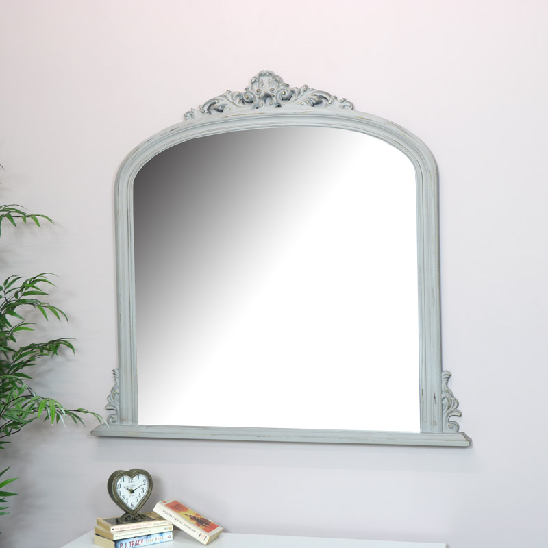 Large Antique Grey Over mantel Wall Mirror  - 94cm x 104cm