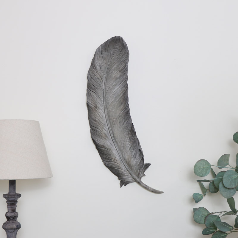 Large Grey Wall Leaf Art