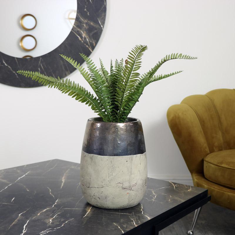 Large Metallic Dipped Stone Vase