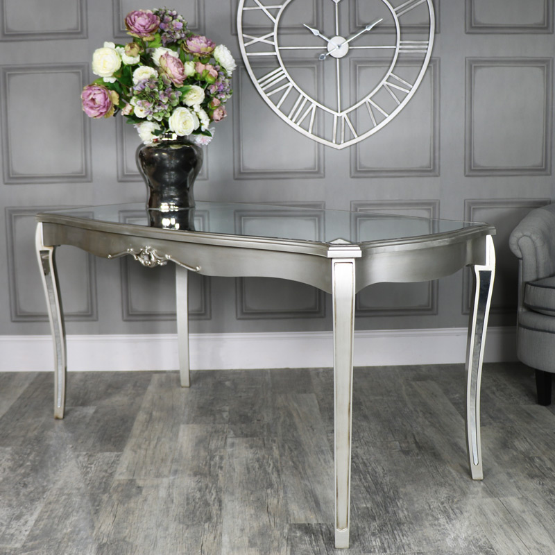 Large Silver Mirrored Dining Table - Tiffany Range