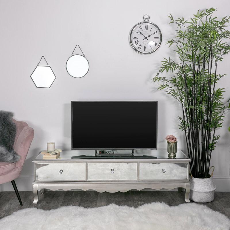 Large Mirrored Storage TV Cabinet - Tiffany Range DAMAGED SECOND 6782