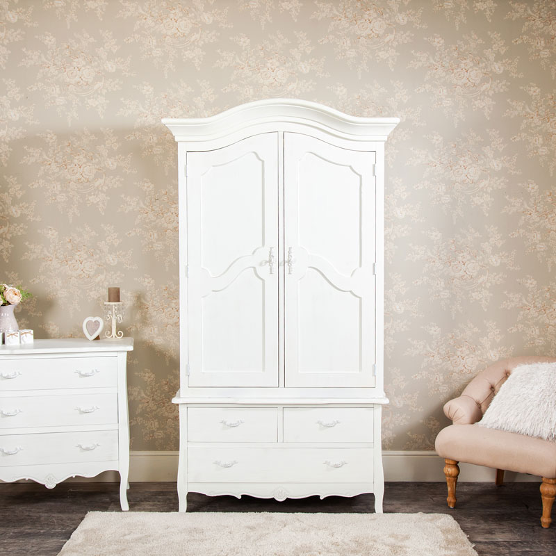 Large White Double Armoire Wardrobe with Drawer Storage - Jolie Range