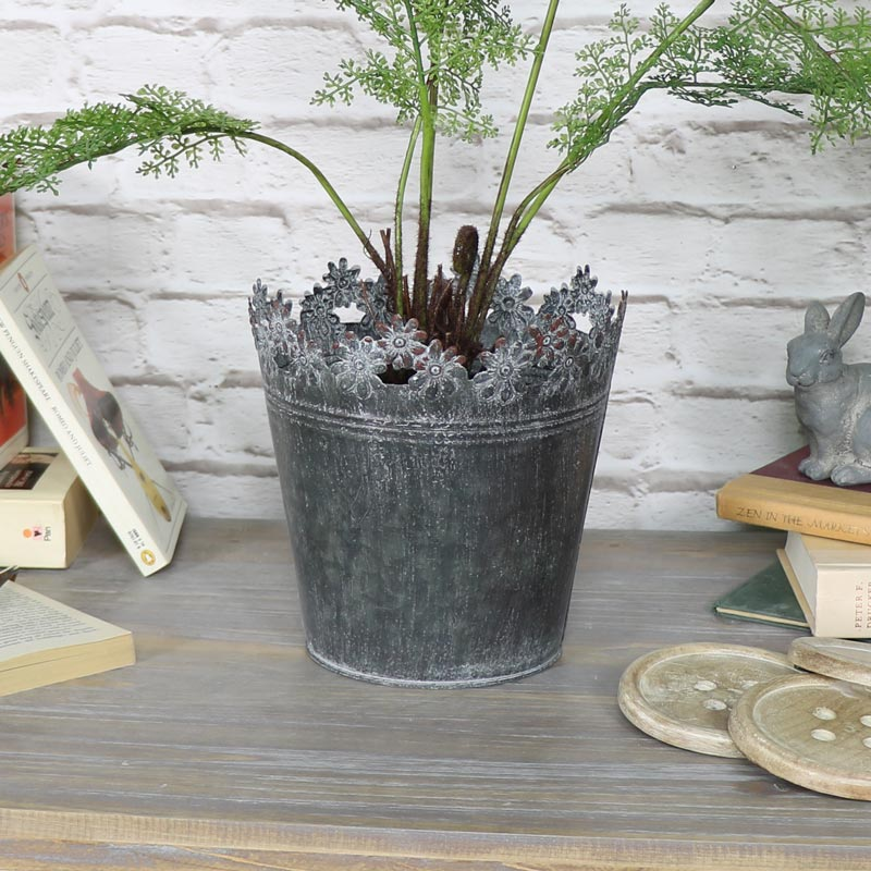 Large Ornate Grey Metal Planter