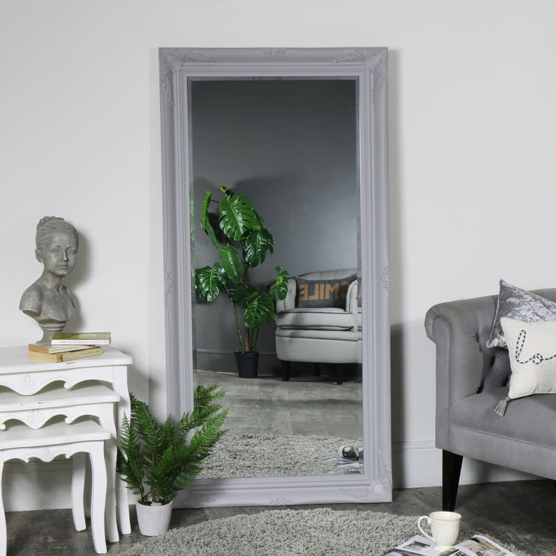 Large Ornate Grey Wall / Floor / Leaner Mirror 158cm x 79cm