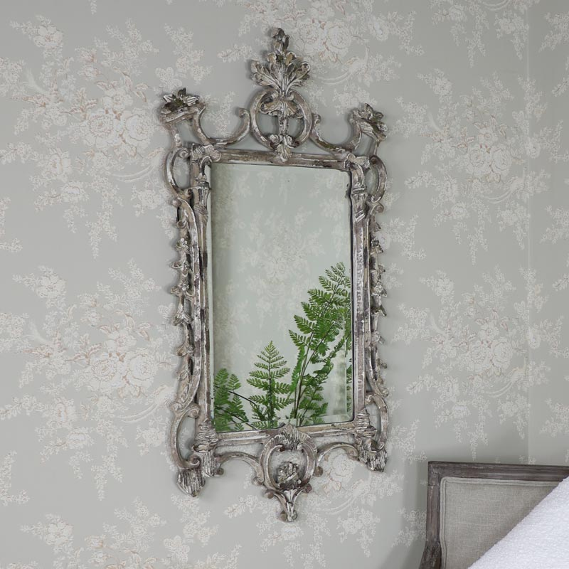 Large Ornate Rustic Antique White Wall Mirror