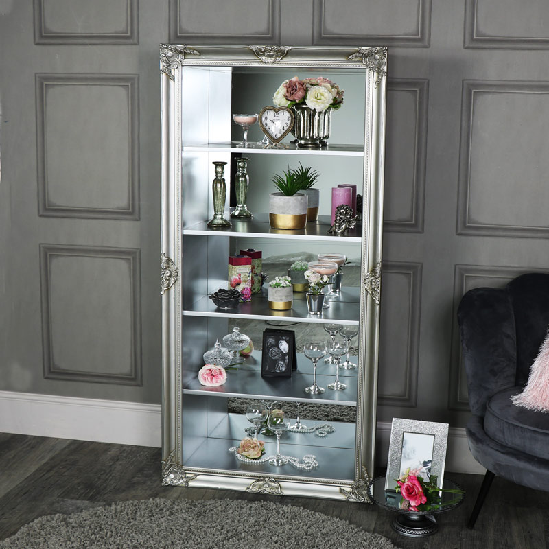 Large Ornate Silver Mirrored Back Display Unit