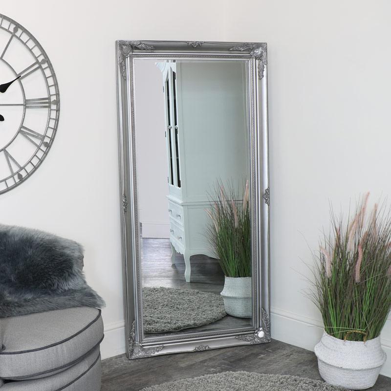 Large Ornate Silver Wall / Floor / Leaner Mirror 158cm x 78cm