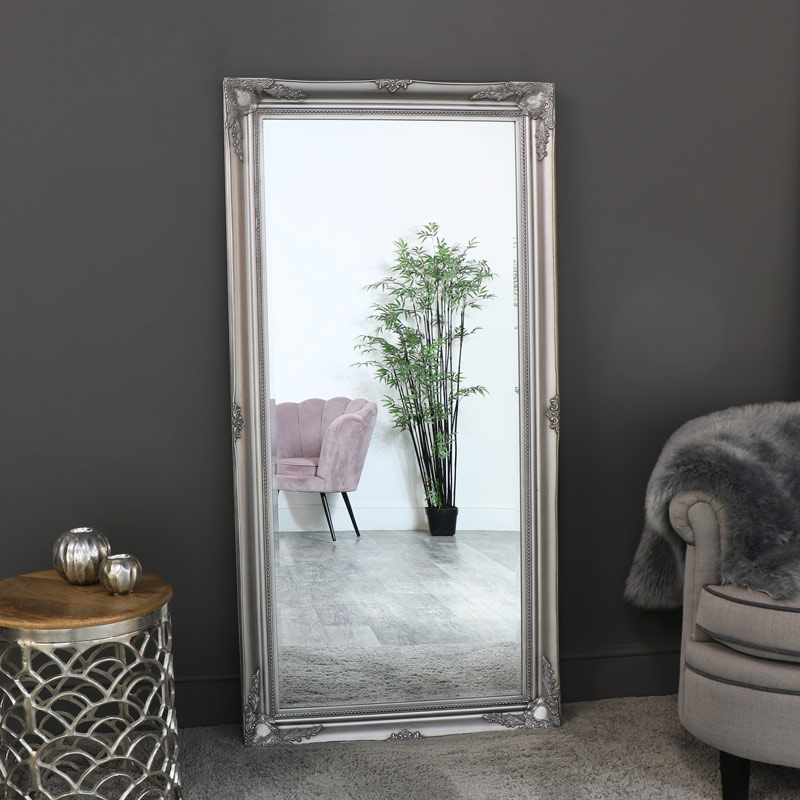 Details zu Extra large silver floor wall leaner mirror ornate French chic  living room hall