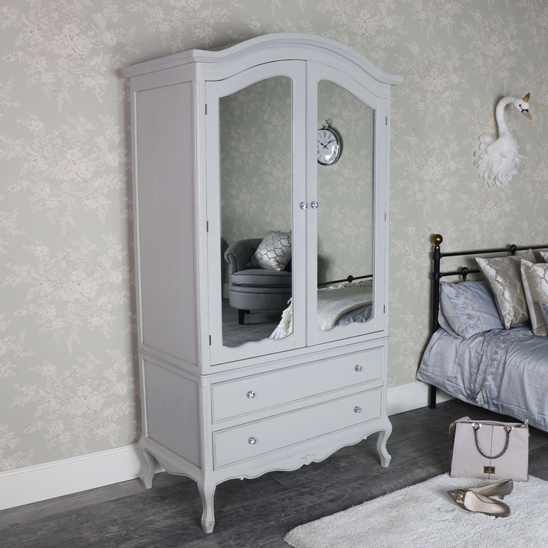 Large Ornate Vintage Grey Mirrored Double Wardrobe - Elise Grey Range