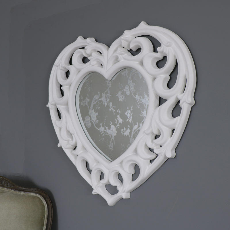 Large ornate white filigree heart wall mirror melody maison for Big white mirror