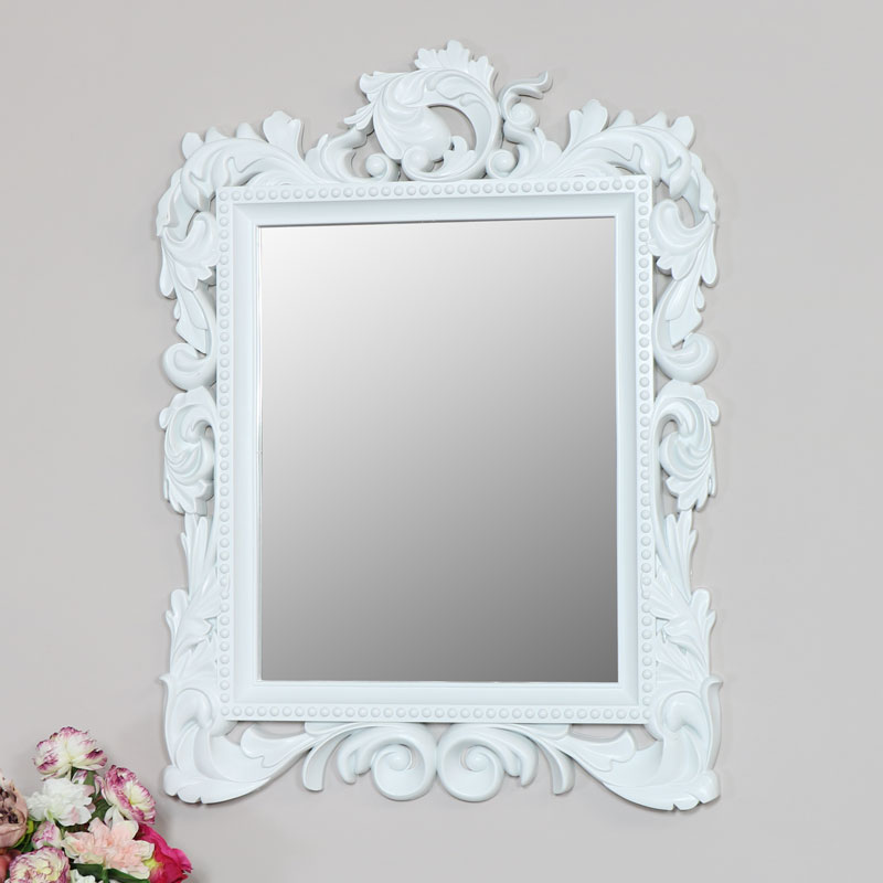Large Ornate White Wall Mirror 58cm x 78cm