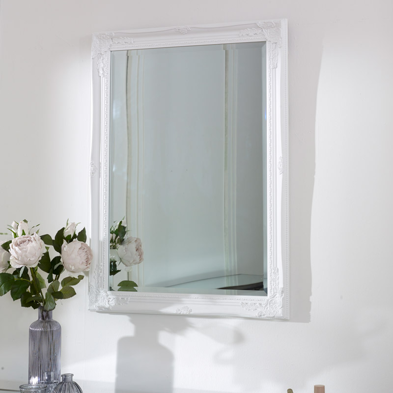 Large Ornate White Wall Mirror 62cm x82cm