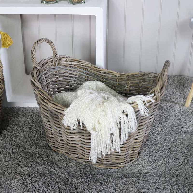 Large Oval Rustic Wicker Laundry Basket