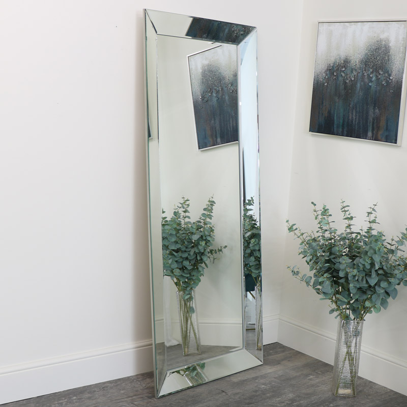 Large Pewter Bevelled Wall/ Floor Mirror 76cm x 185cm