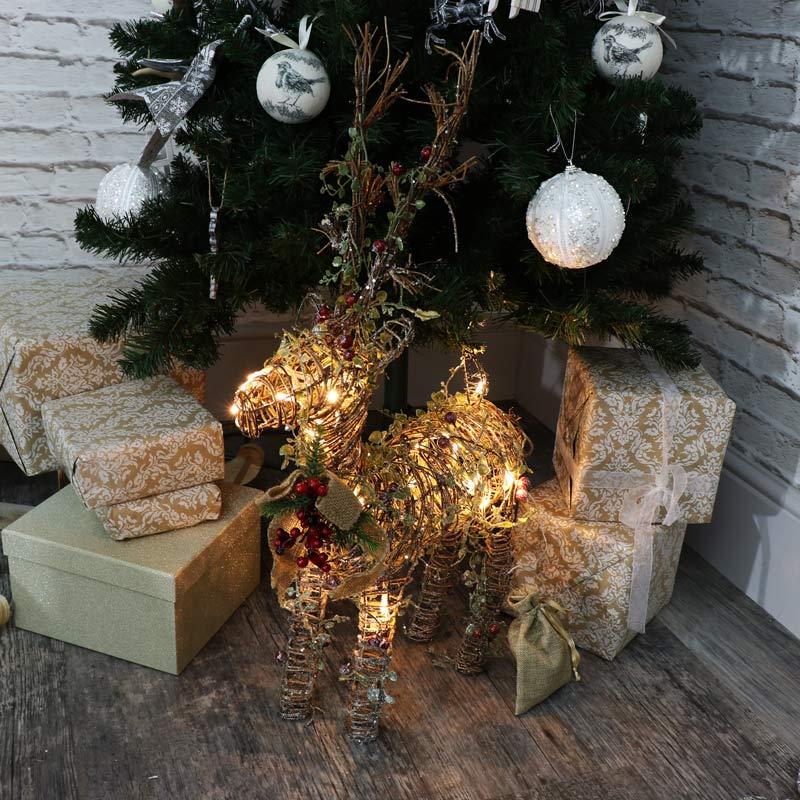 Gro rattan weihnachten led beleuchtung rentier dekoration for Rentier dekoration