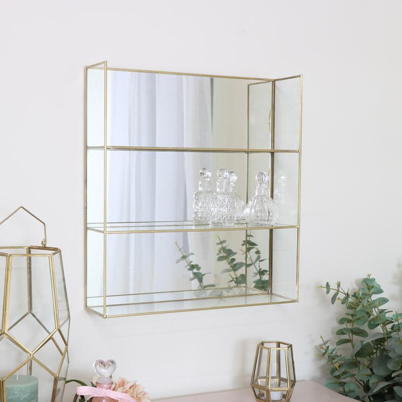 Large Rectangle Gold Mirrored Shelf
