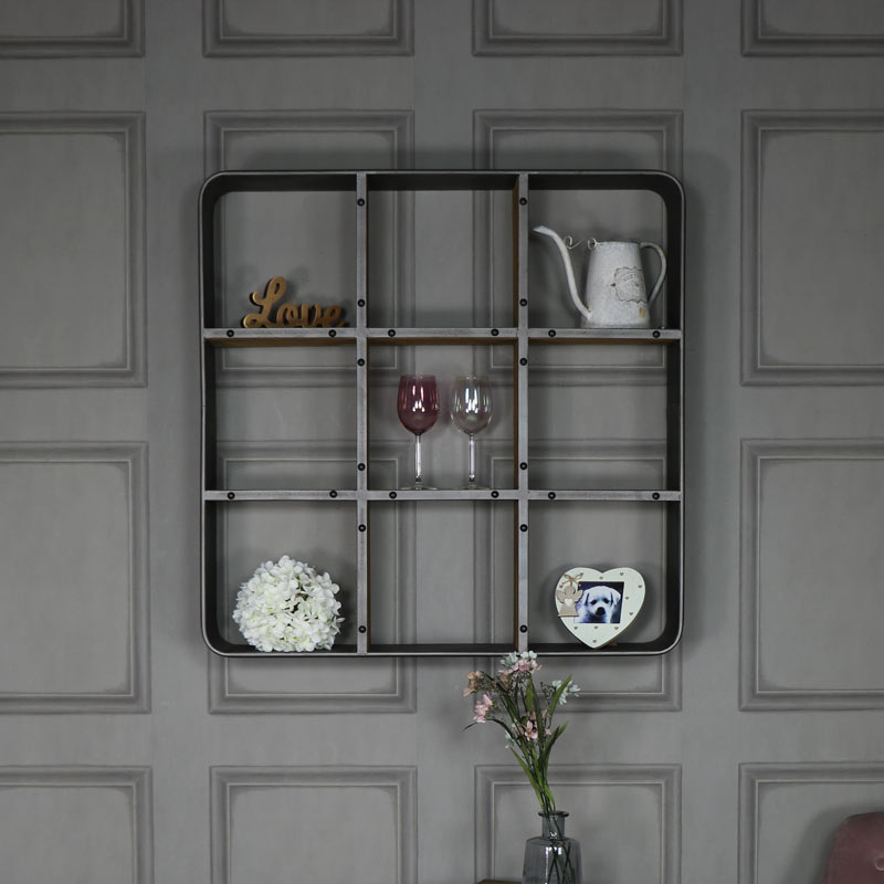 Large Retro Industrial Cube Shelving
