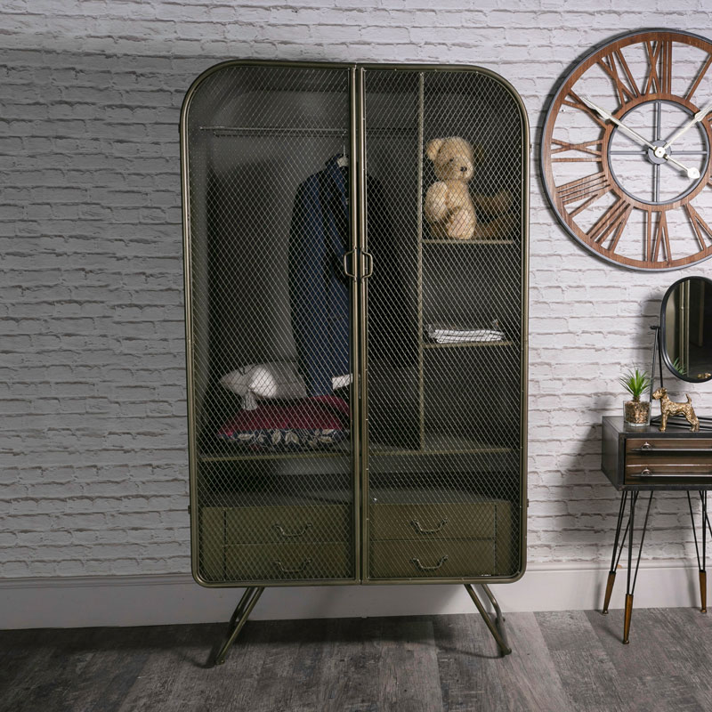 Large Retro Industrial Metal Double Wardrobe - Melody Maison®