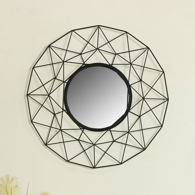 Large Round Black Metal Wire Wall Mirror 63cm x 63cm