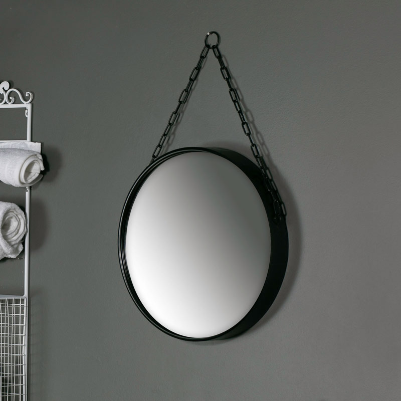 Large Round Black Mirror with Chain Hanger