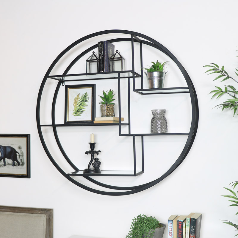 Large Round Black Mirrored Multi Shelf Unit
