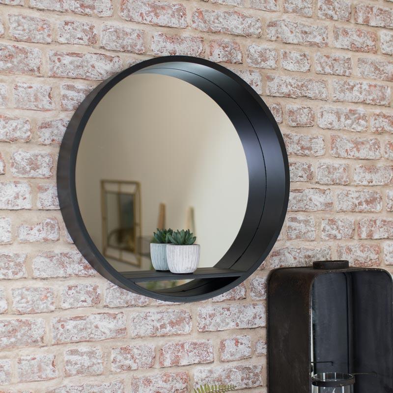 Large Round Black Mirrored Wall Shelf Unit