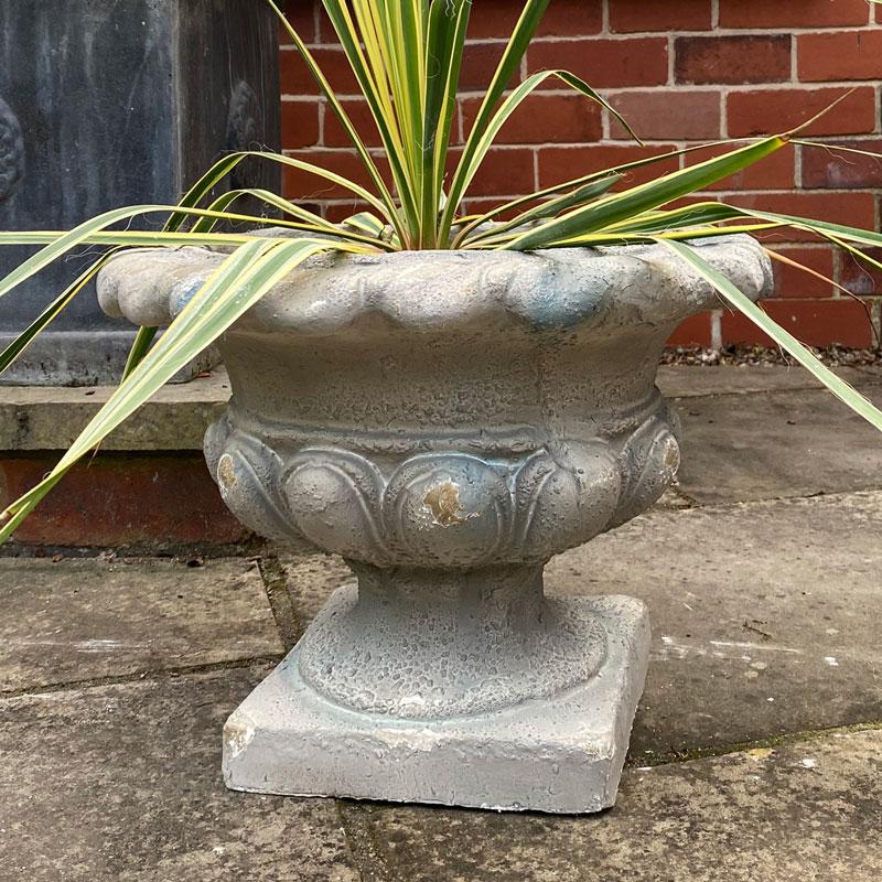 Large Round Distressed Urn